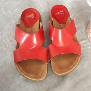Dansko red leather sandals